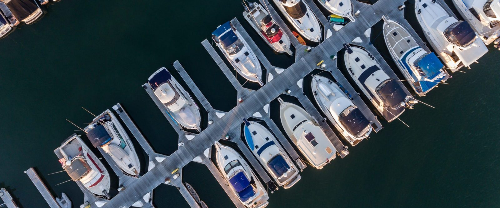 Aerial view of boats in their slips